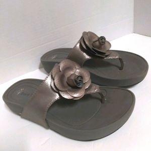 Bare traps Greda gold wedge thong sandal shoe